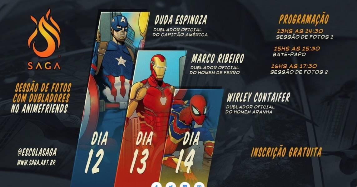 Photo of SAGA estará no Anime Friends com dubladores do Capitão América, Homem de Ferro e Homem-Aranha