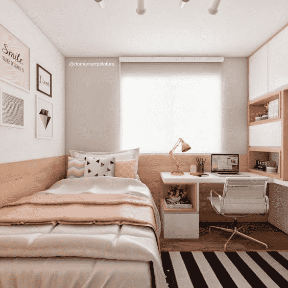 poucos moveis na decoração para quartos pequenos